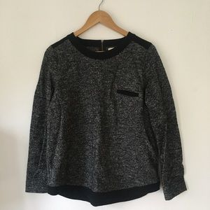 Madewell Wool/Cotton Trimmed Long Sleeve Top